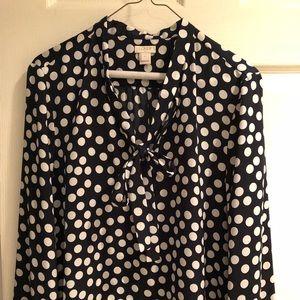 Navy blue and white polka dot Jcrew blouse